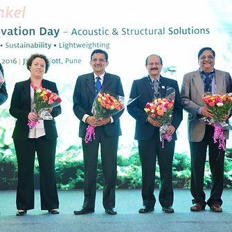 (From Left to Right) Frederic Chupin and Emilie Barriau from Henkel, Dr.Aravind S. Bharadwaj from Mahindra & Mahindra Ltd., N.V.Karanth and A.V.Mannikar from ARAI along with Shilip Kumar from Henkel during the Henkel Innovation Day