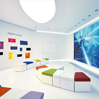 Image of the digital lounge in the Beauty Care Lighthouse at Henkel headquarters.